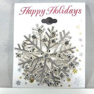 Jewelry - Snowflake Brooch Pin, Silver Tone Rhinestones, NWT